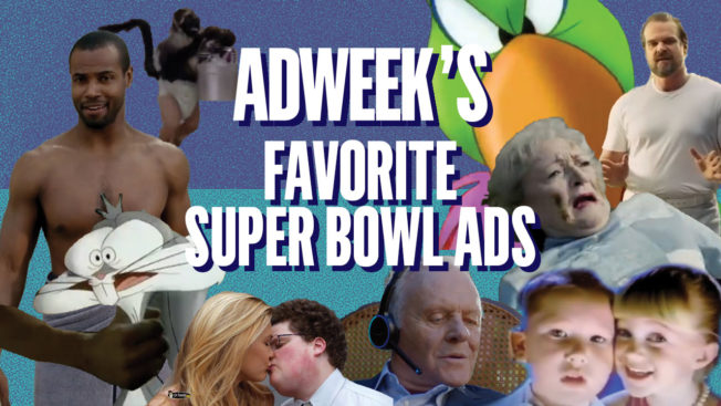 actors from various super bowl ads with Adweek's Favorite Super Bowl Ads in the middle