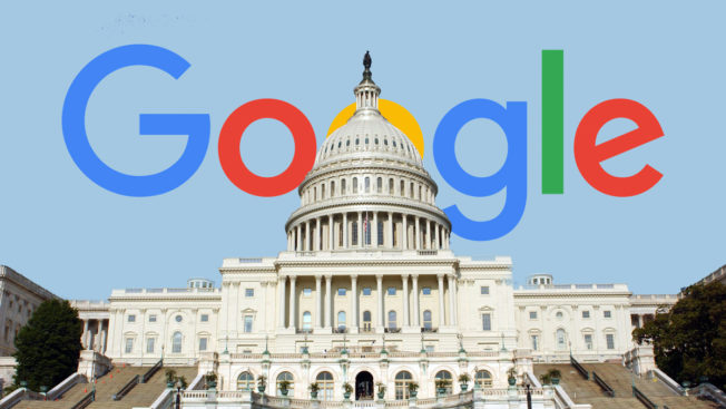 the white house in front of the rainbow google logo