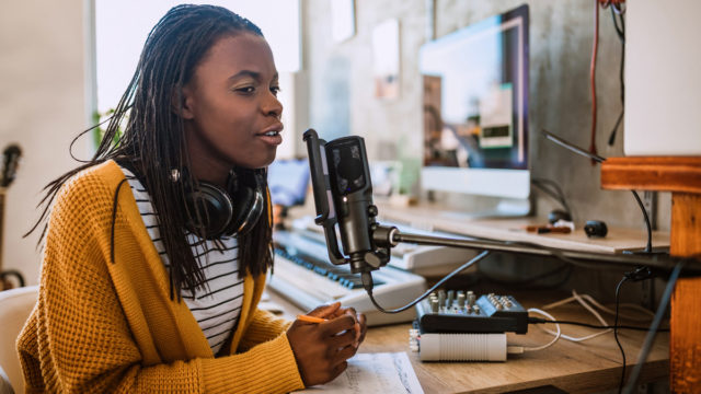 podcasting woman