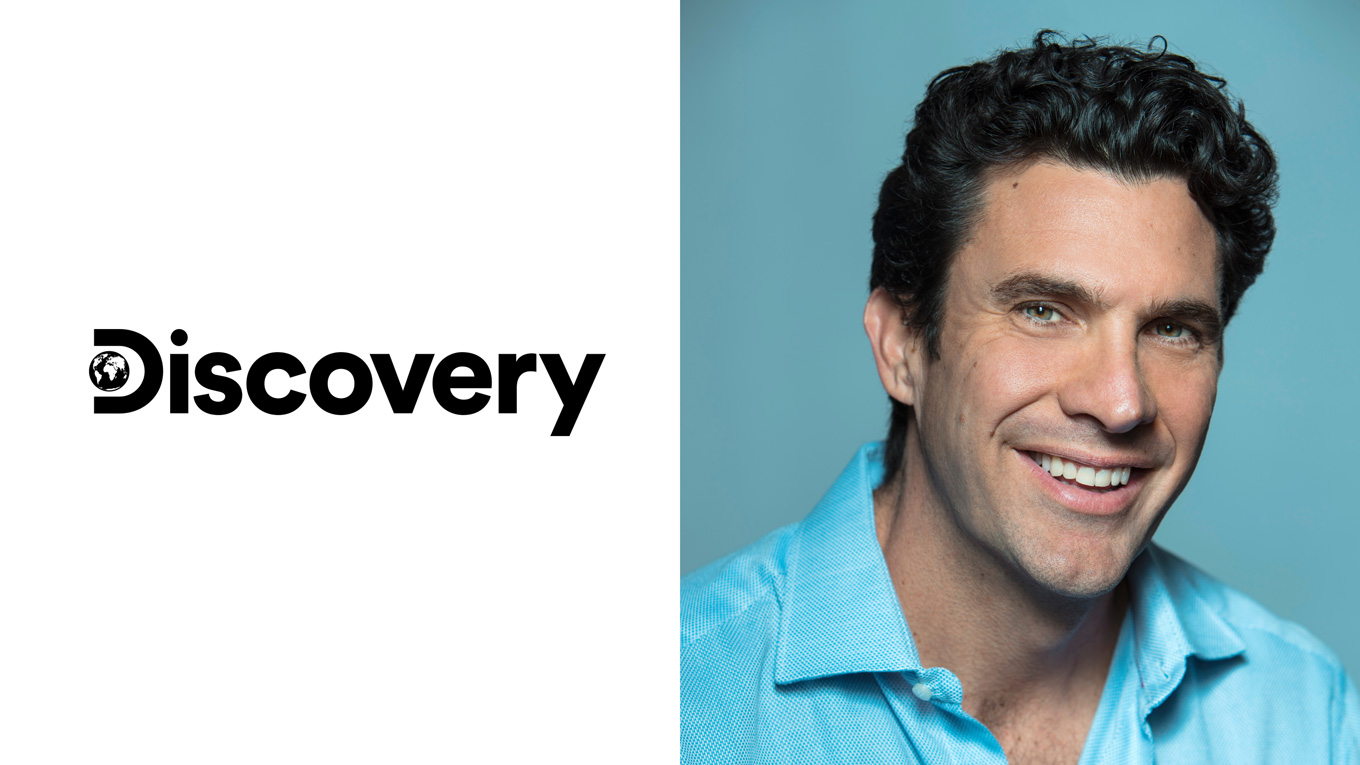 discovery logo on left and a man's headshot on right