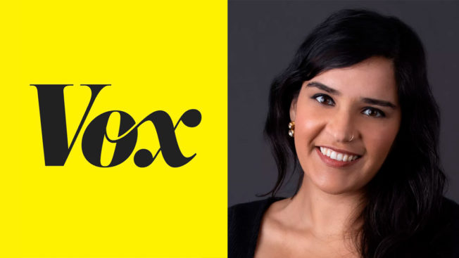 vox logo on left on yellow background and woman's headshot on the right