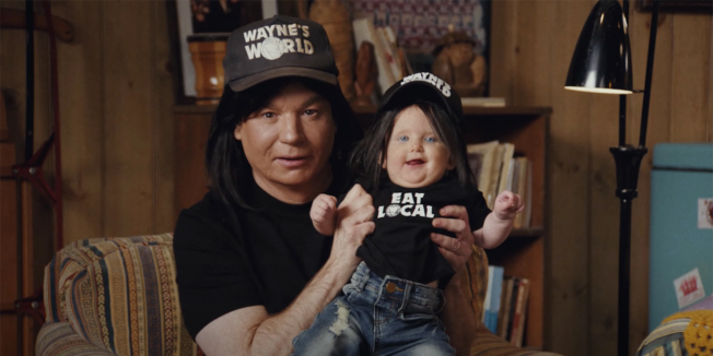 mike myers as wayne in super bowl ad