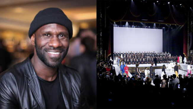 headshot of a man smiling on the left and a stage and fashion show on the right
