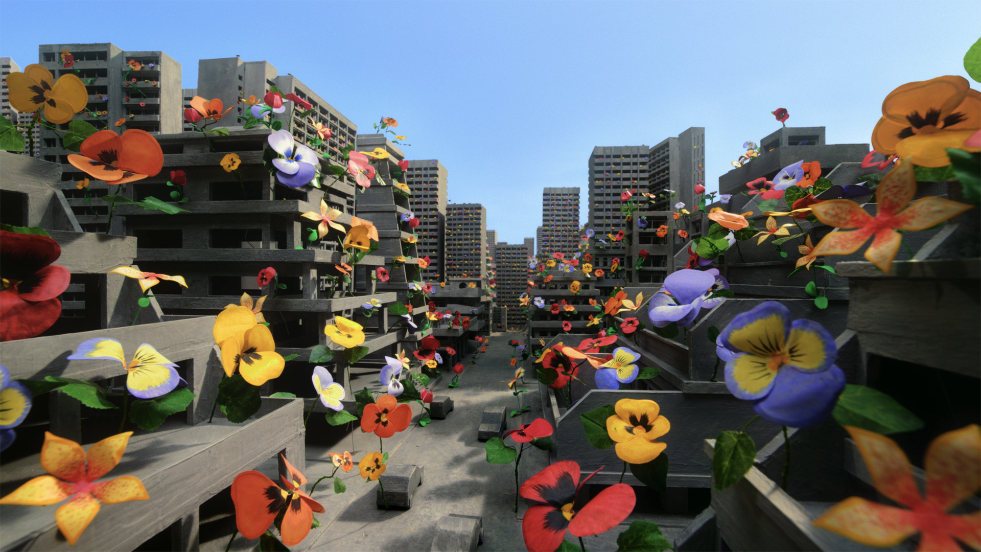 a virtual-made cities with flowers all over the buildings