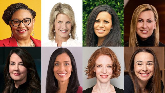 Headshot collage of 8 women mentioned in advice piece.