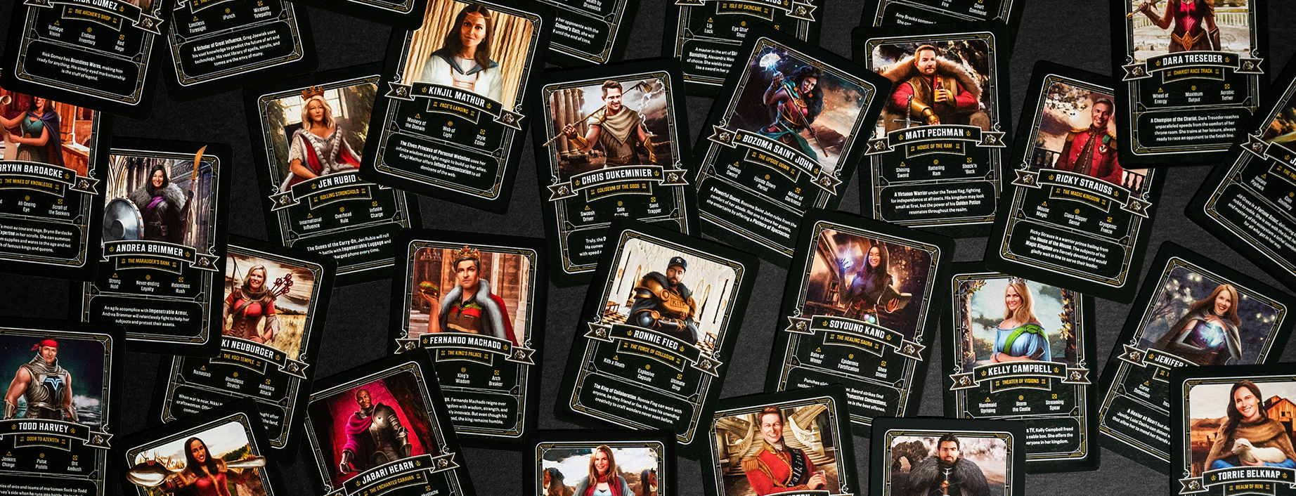Examples of digital playing cards are shown featuring marketers dressed in fantasy garb