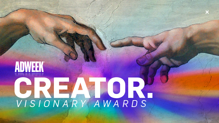two hands almost touching over a rainbow that says adweek creator visionary awards