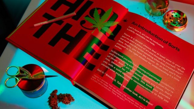 the inside of a book about cannabis with large black letters that read