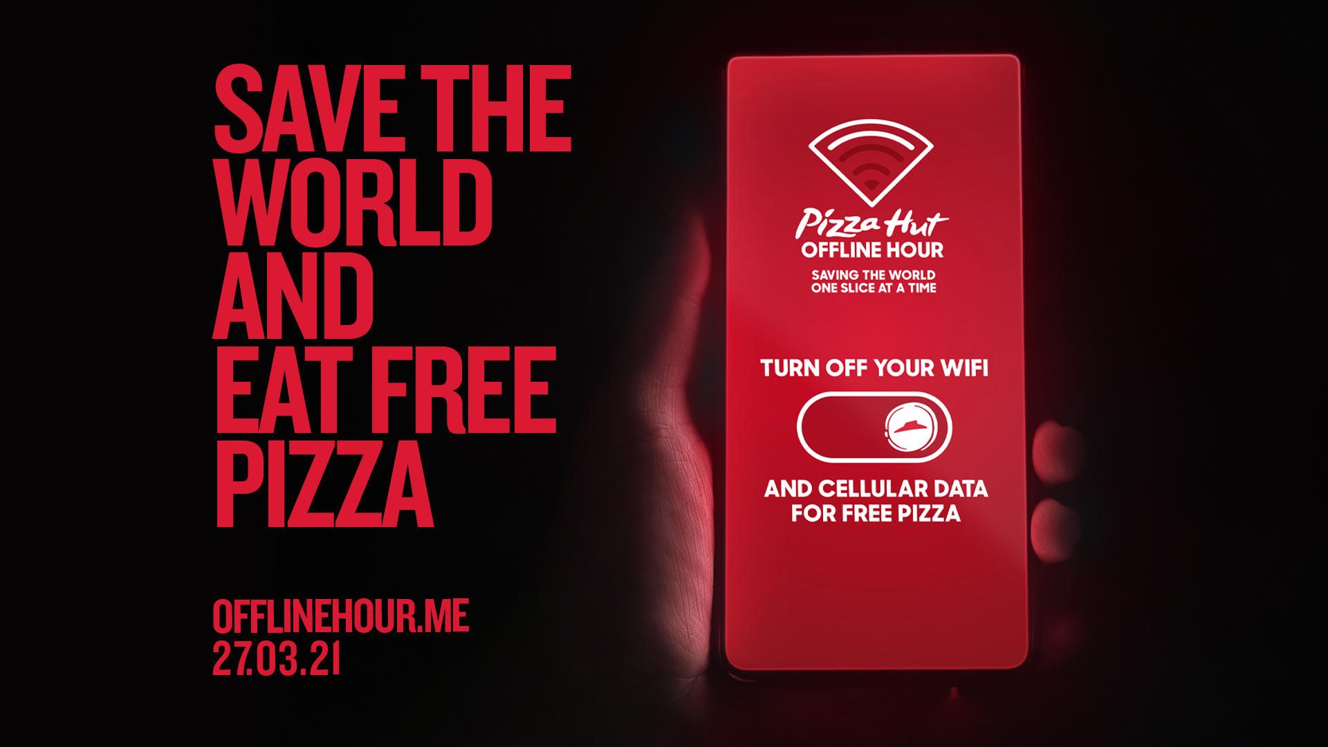 Customers who disconnected their phones for an hour were rewarded with free pizza.