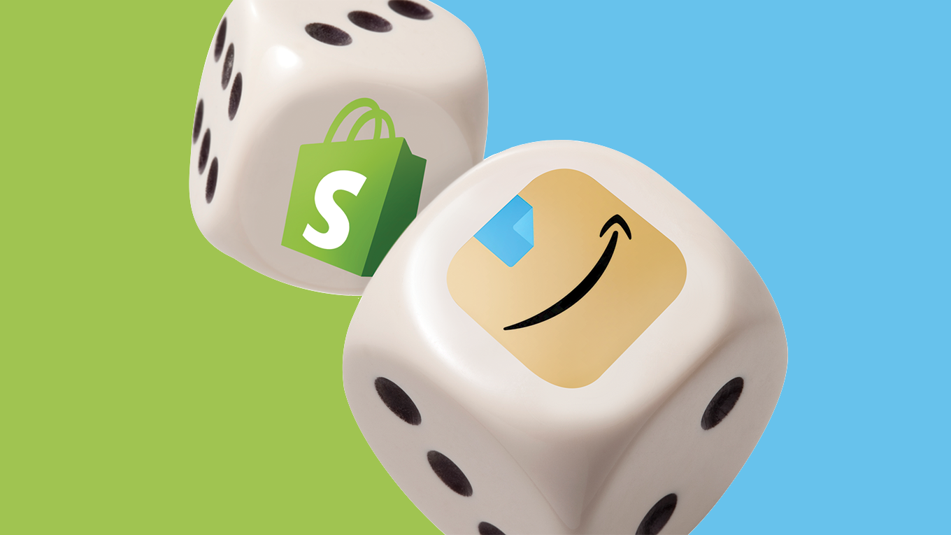 Dice with Shopify and Amazon logos