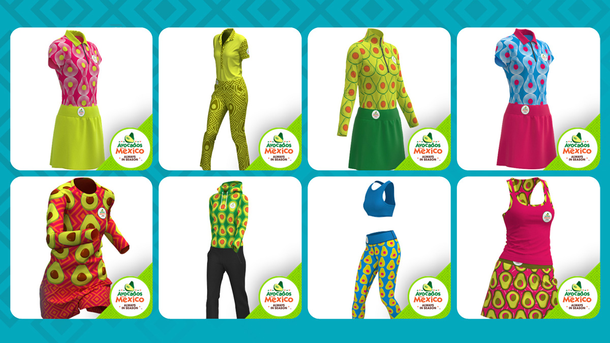 a series of avocado-inspired outfits made by a company called Avocados from Mexico