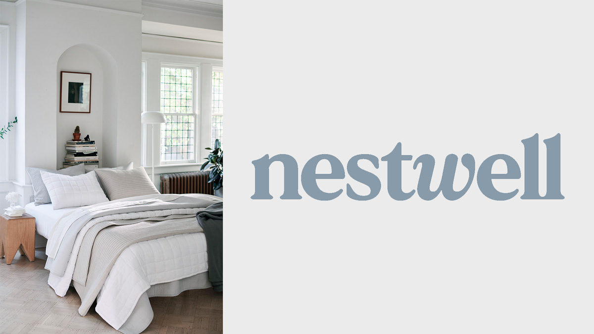 image of a bed sold by company nestweek and on the right-hand side is the company's logo