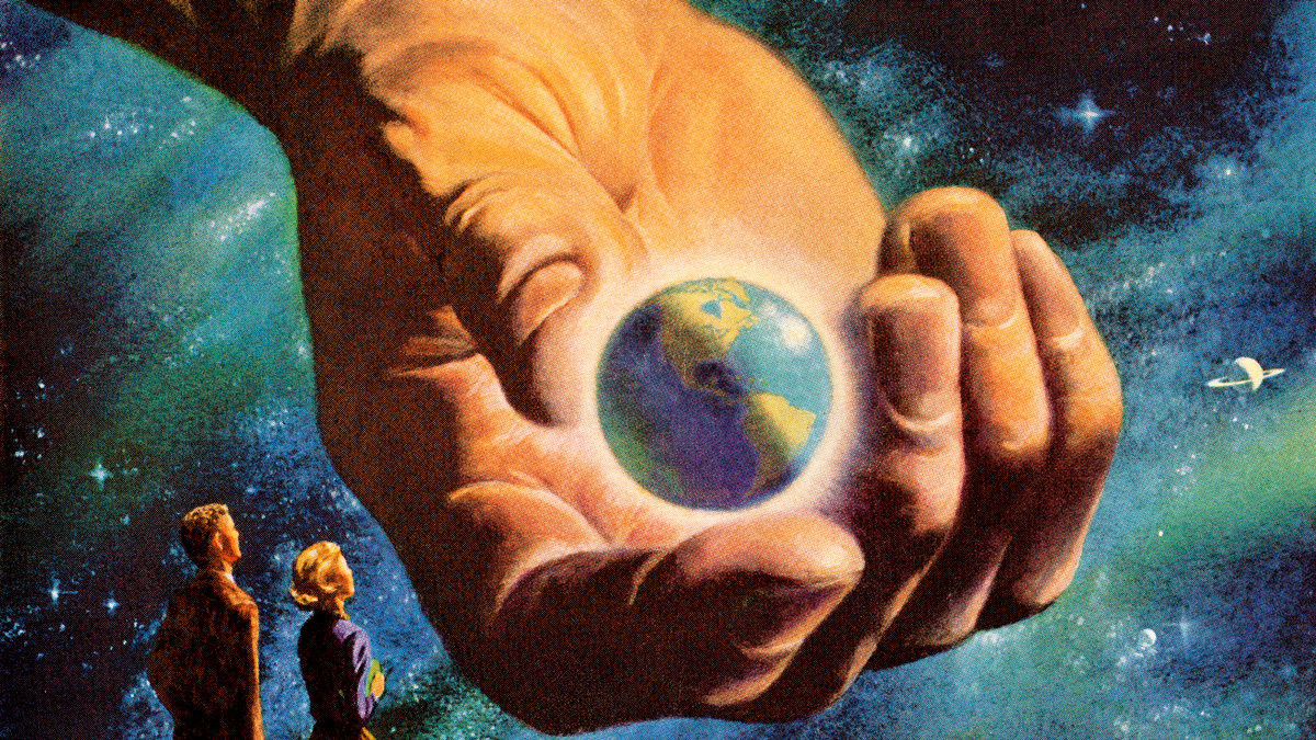 Giant hand holding planet Earth