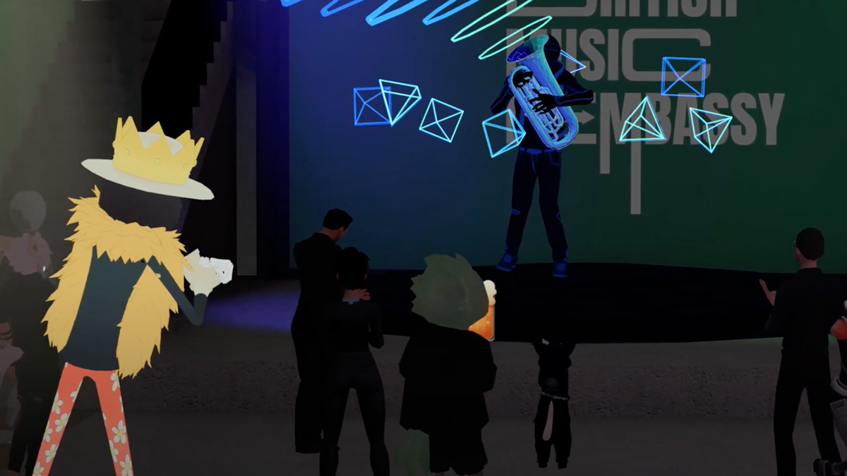 cartoon image showing a virtual festival with people playing music