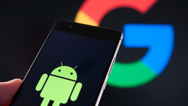 green android logo partially cover google's letter g logo