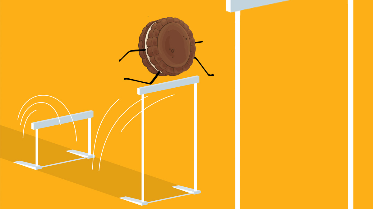 an oreo cookie jumping over a hurdle on an orange background