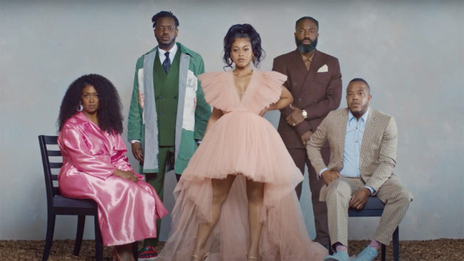 Five people stand facing the camera in a scene from Hennessy's short film about Black excellence