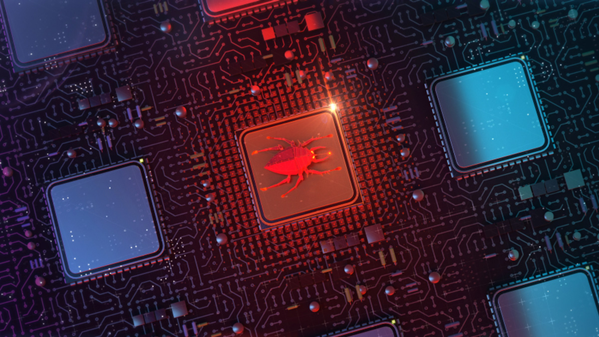 A bug infests a microchip.