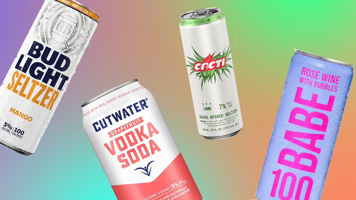 a can of budlight, vodka soda, rose wine and agave spiked seltzer