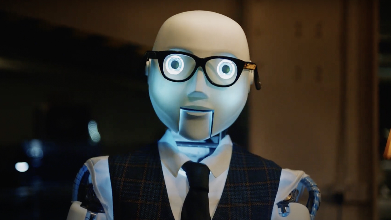 a robot wearing a suit and glasses