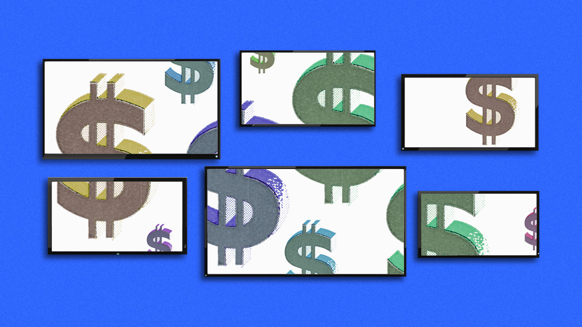 dollar signs on white rectangles on a blue background