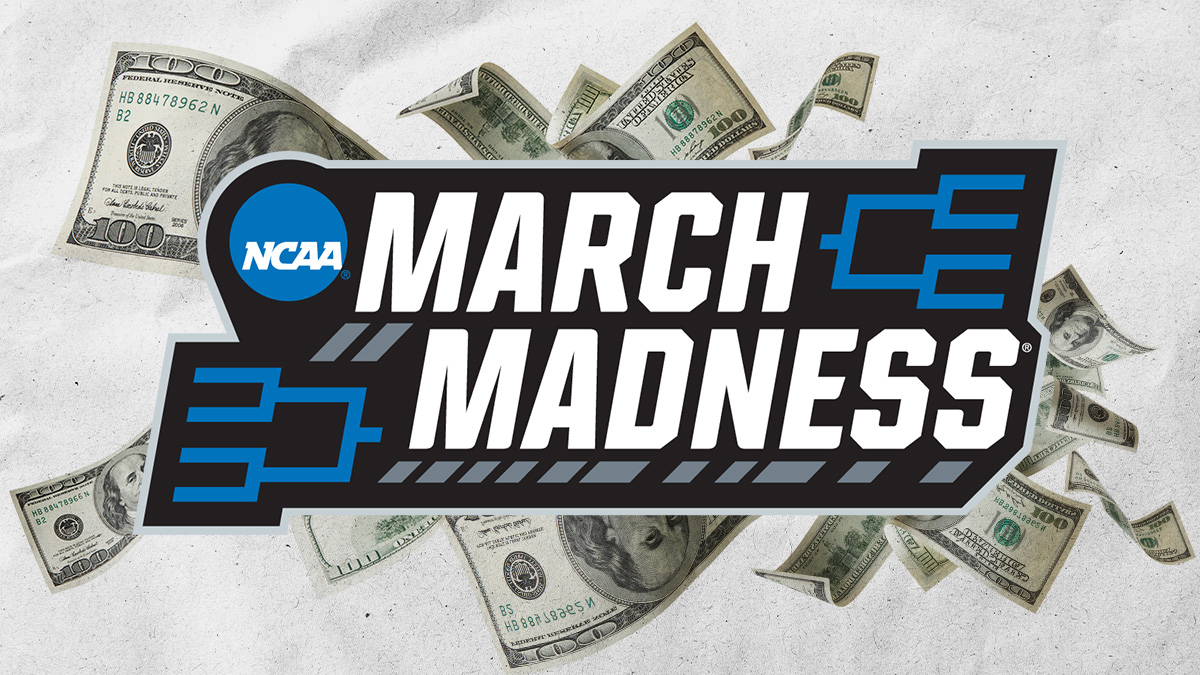 march madness logo with money behind it