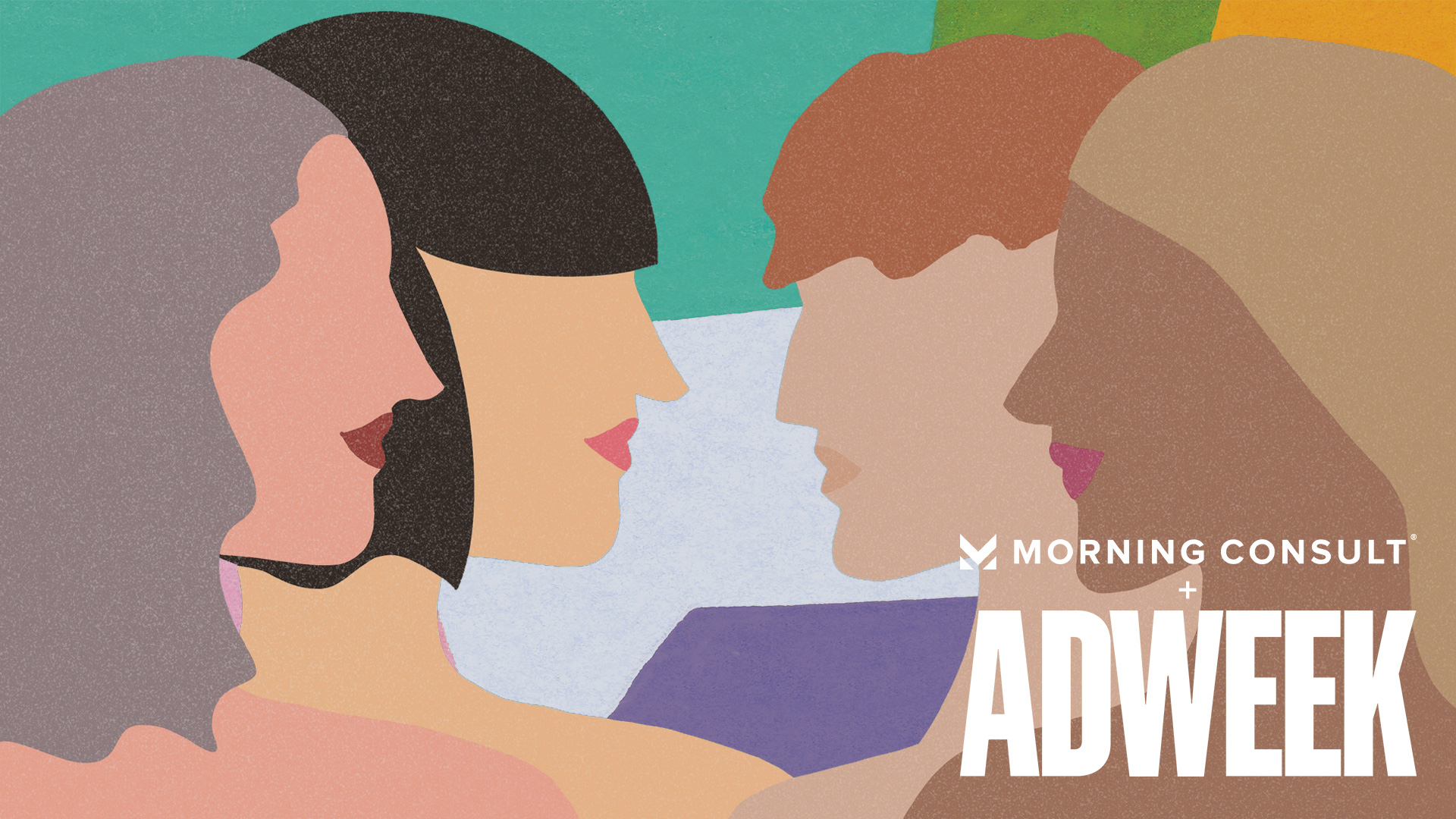 the words morning consult and adweek in white text in front of four women facing each other