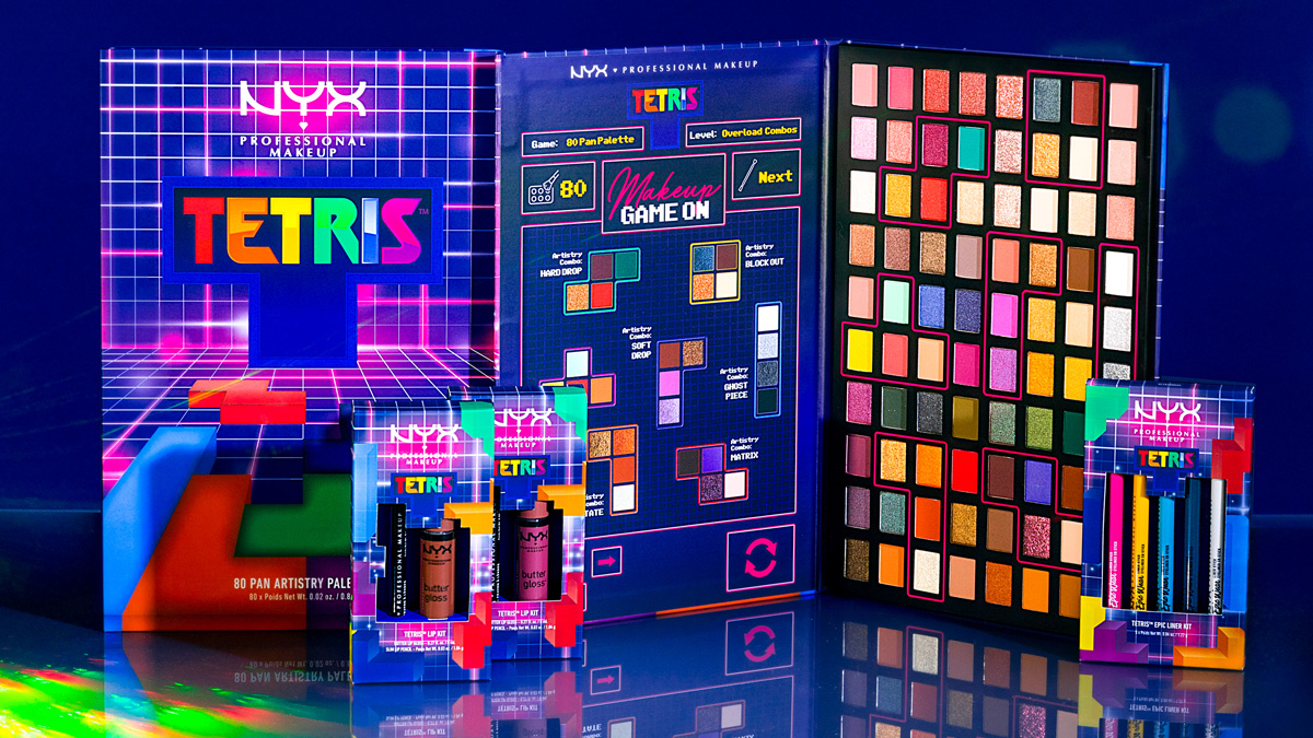 colorful boards with tetris boards and colorful makeup