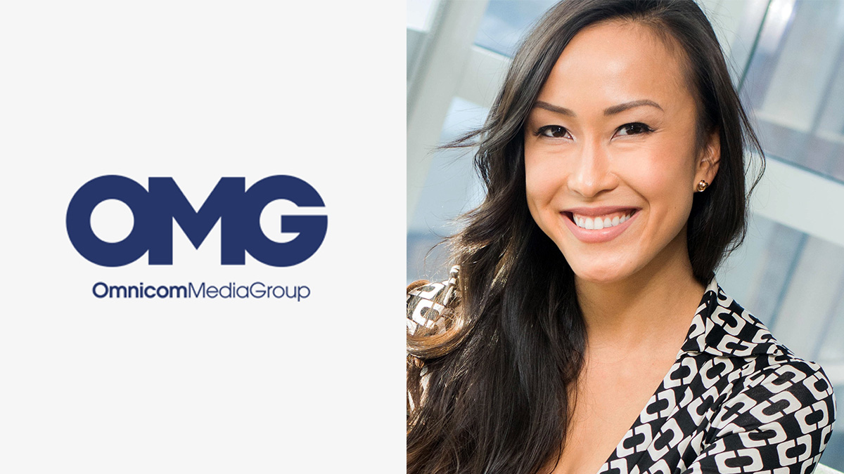 omnicom media group logo on the left, with a photo of Sara Porritt on the right