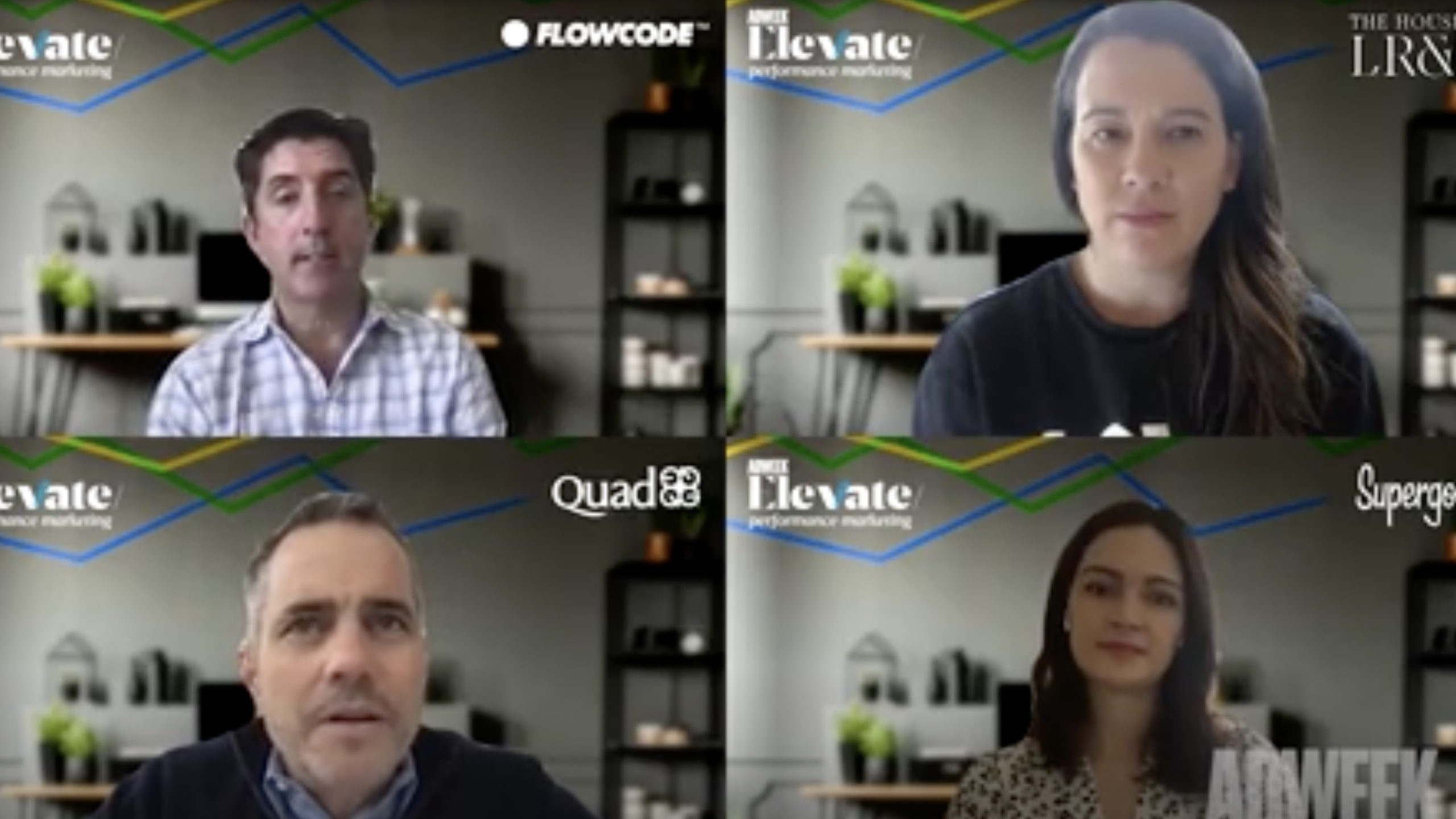 Flowcode CRO Jim Norton speaking virtually with brand clients at Adweek's Elevate: Performance Marketing.