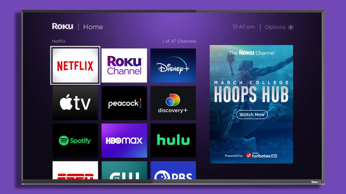roku tv home screen showing various TV apps such as hulu and netflix