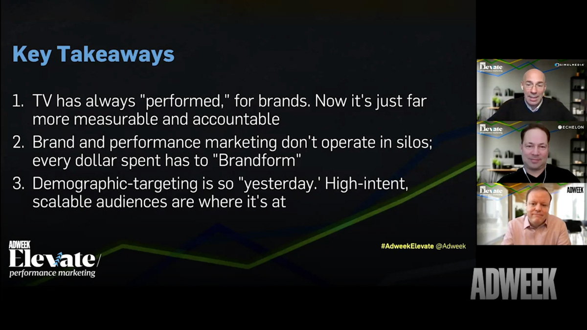 adweek elevate performance marketing 3 key takeaways from the event with 3 people talking