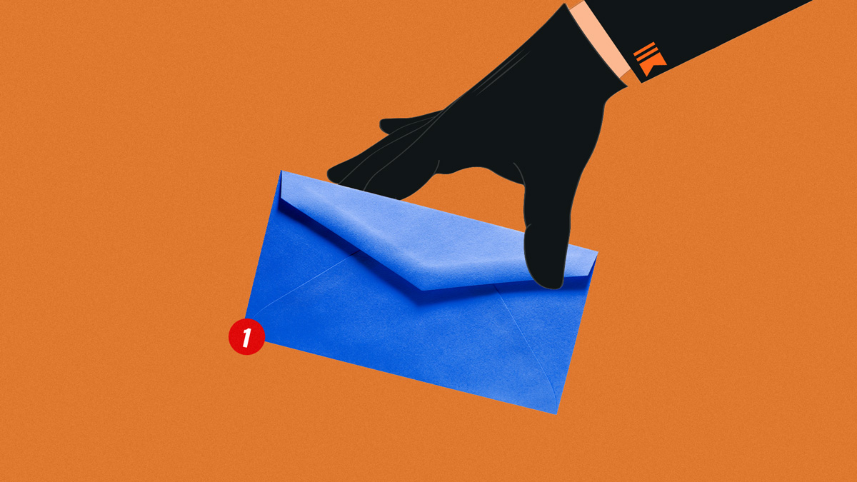 an image of a hand holding a blue envelope with a notification with the number one