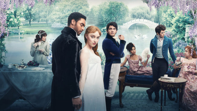promotion photo of TV show Bridgerton showing all characters