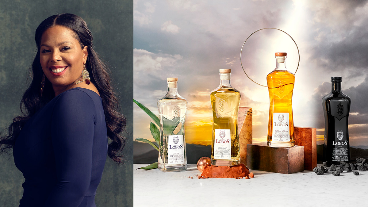 a woman's headshot on the left and a few liquor bottles on the right