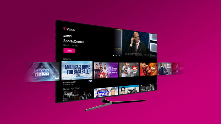 A photo of a TV showing T-Mobiles now discontinued TVision