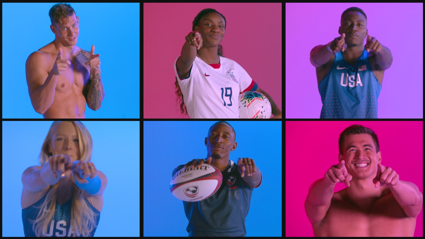 Collage of athletes pointing toward screen