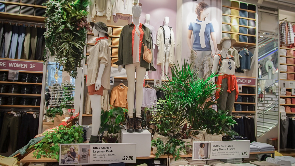 To spotlight simple, high-quality, everyday clothing, Uniqlo has adorned its flagship store with hundreds of plants.