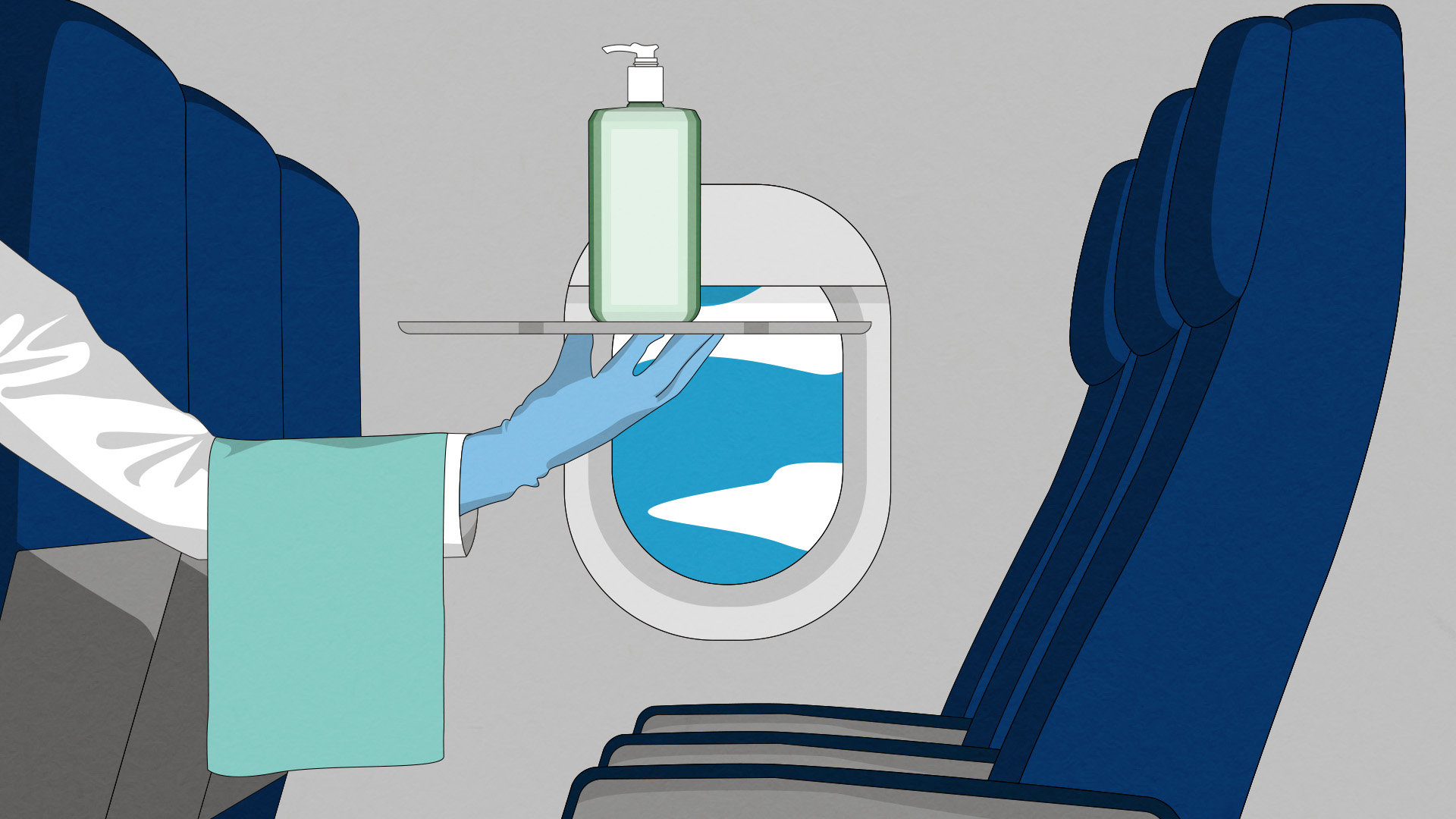 person holding a bottle of hand sanitizer on a plane