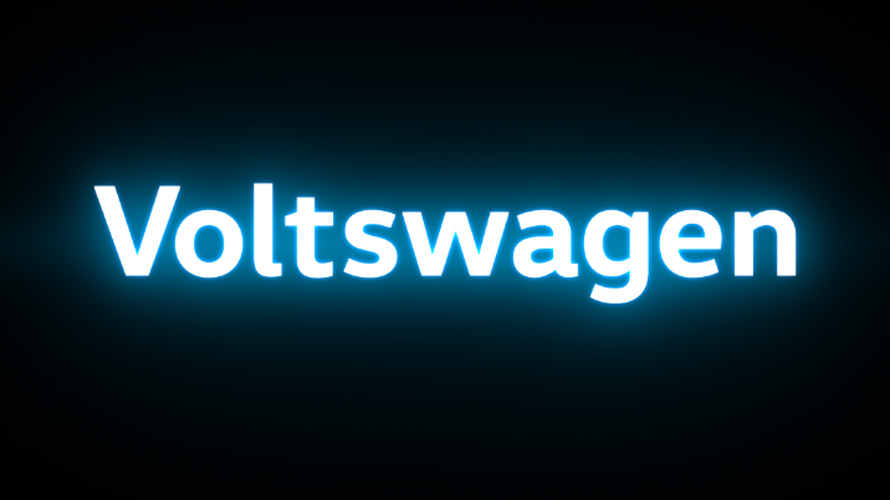 the letters voltswagen in bright white letters against a black background