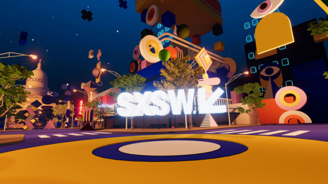 a colorful city center with shapes of buildings and SXSW in the middle
