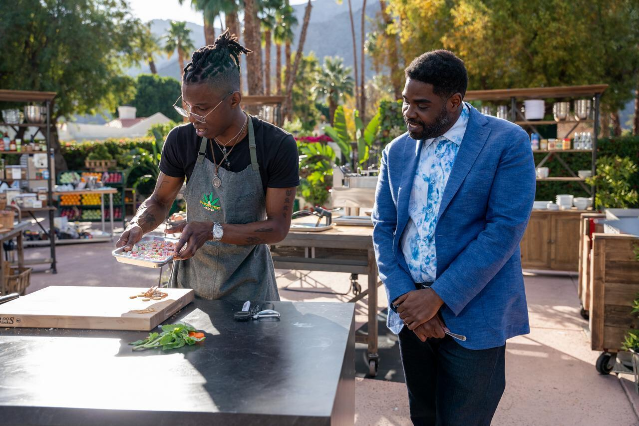 Host Ron Funches with chef Solomon Johnson, as seen on Chopped 420, Season 1.