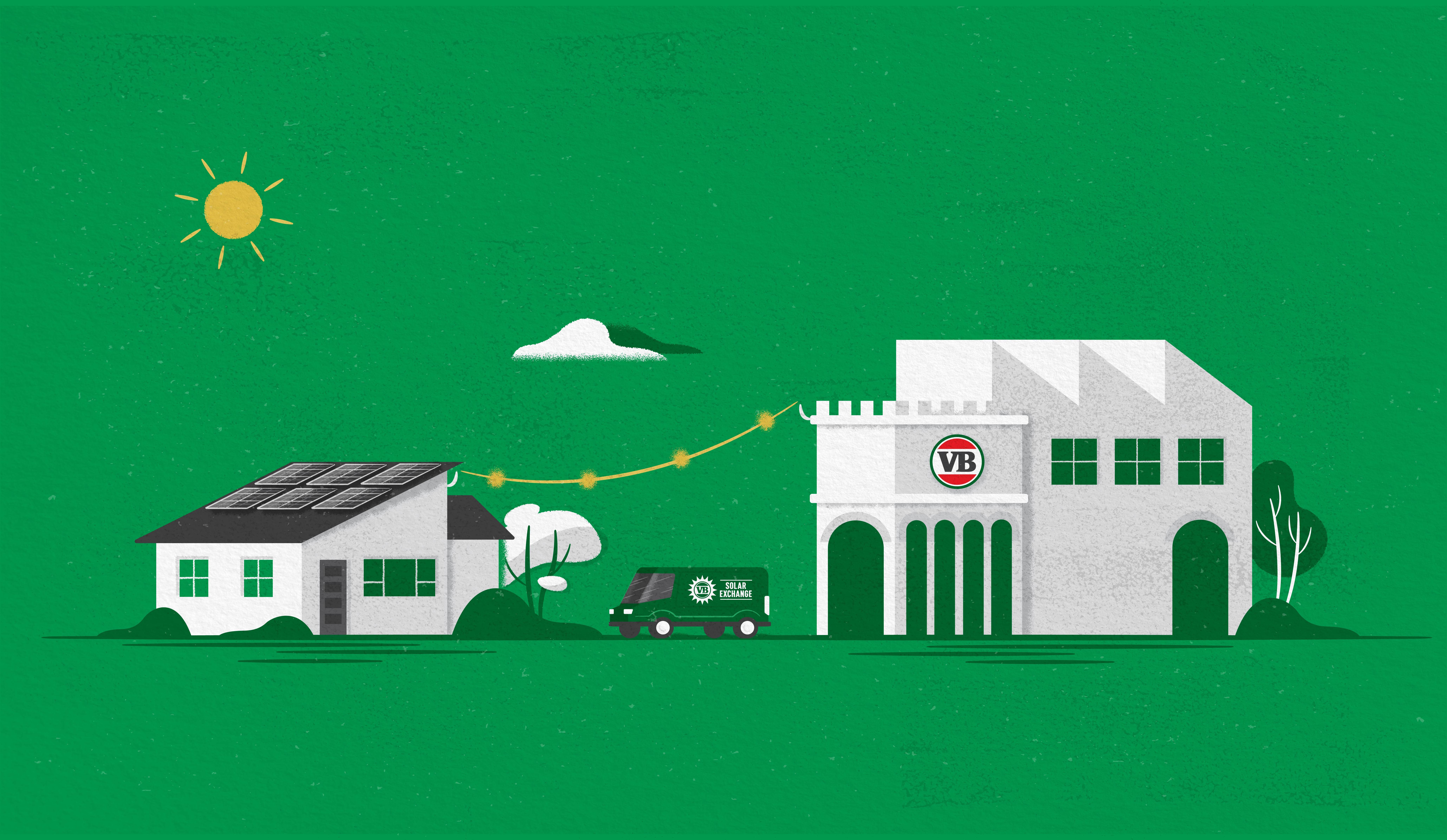 illustration of a house next to a building where a car is driving between the two