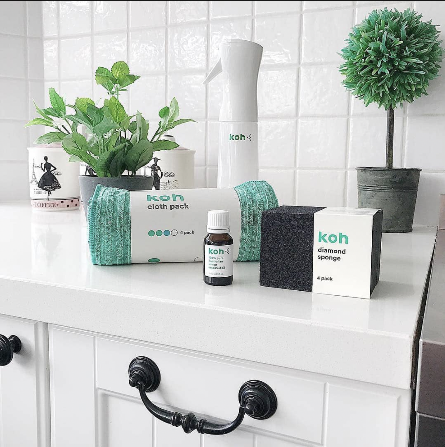 a bathroom counter with various cleaning supplies on it with plants in the background