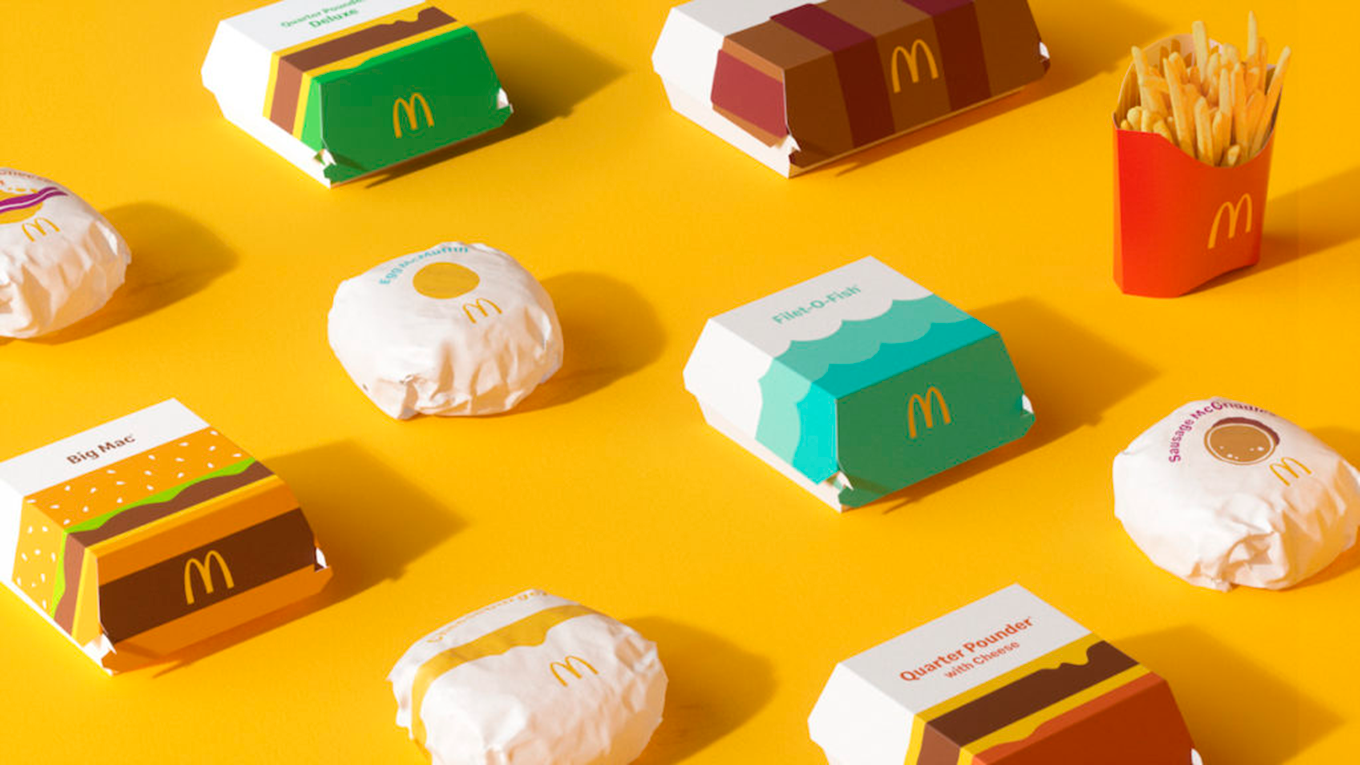 A number of McDonald's products on a yellow background