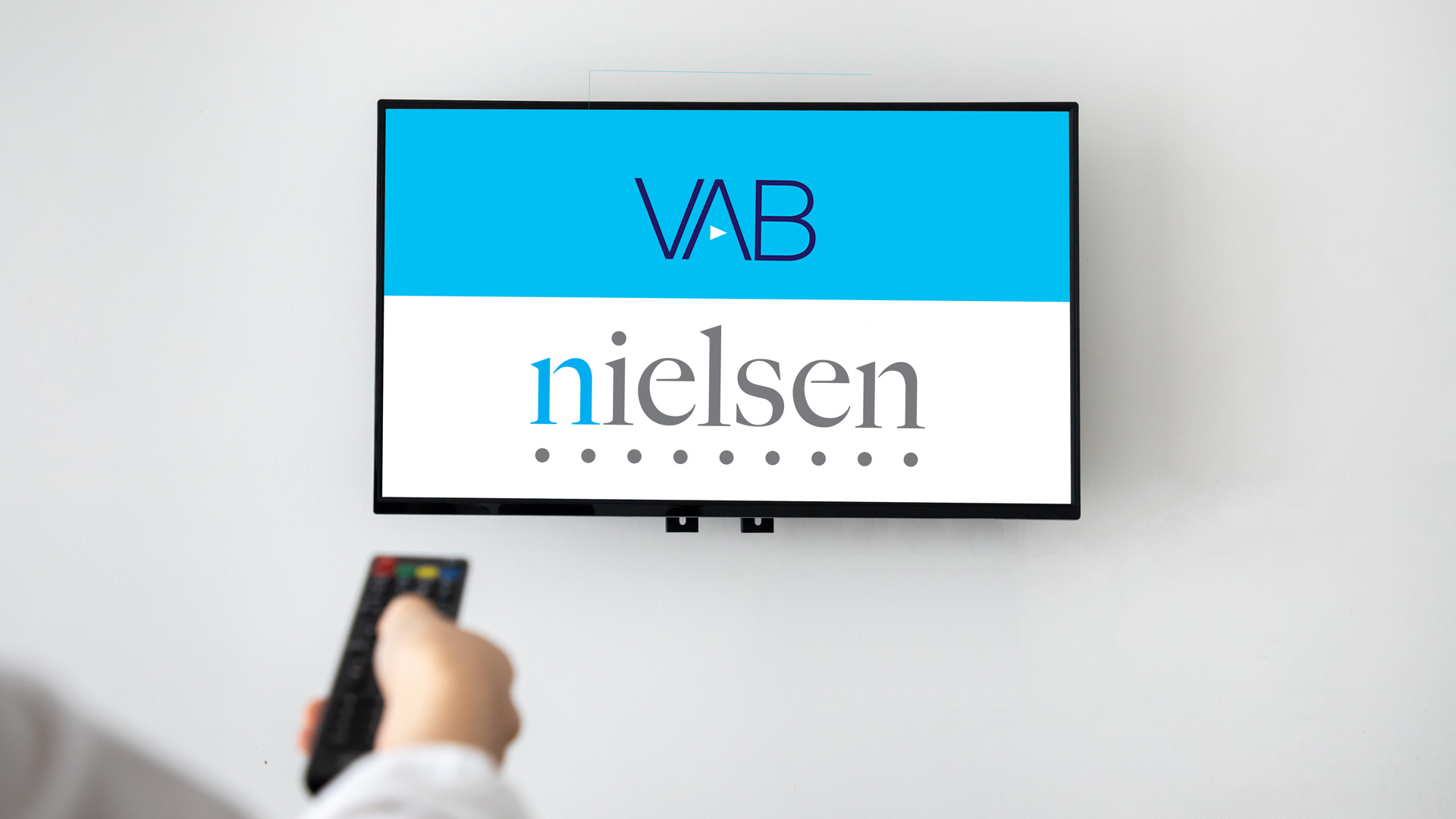 The logos for the Video Advertising Bureau and Nielsen are displayed on a TV screen.