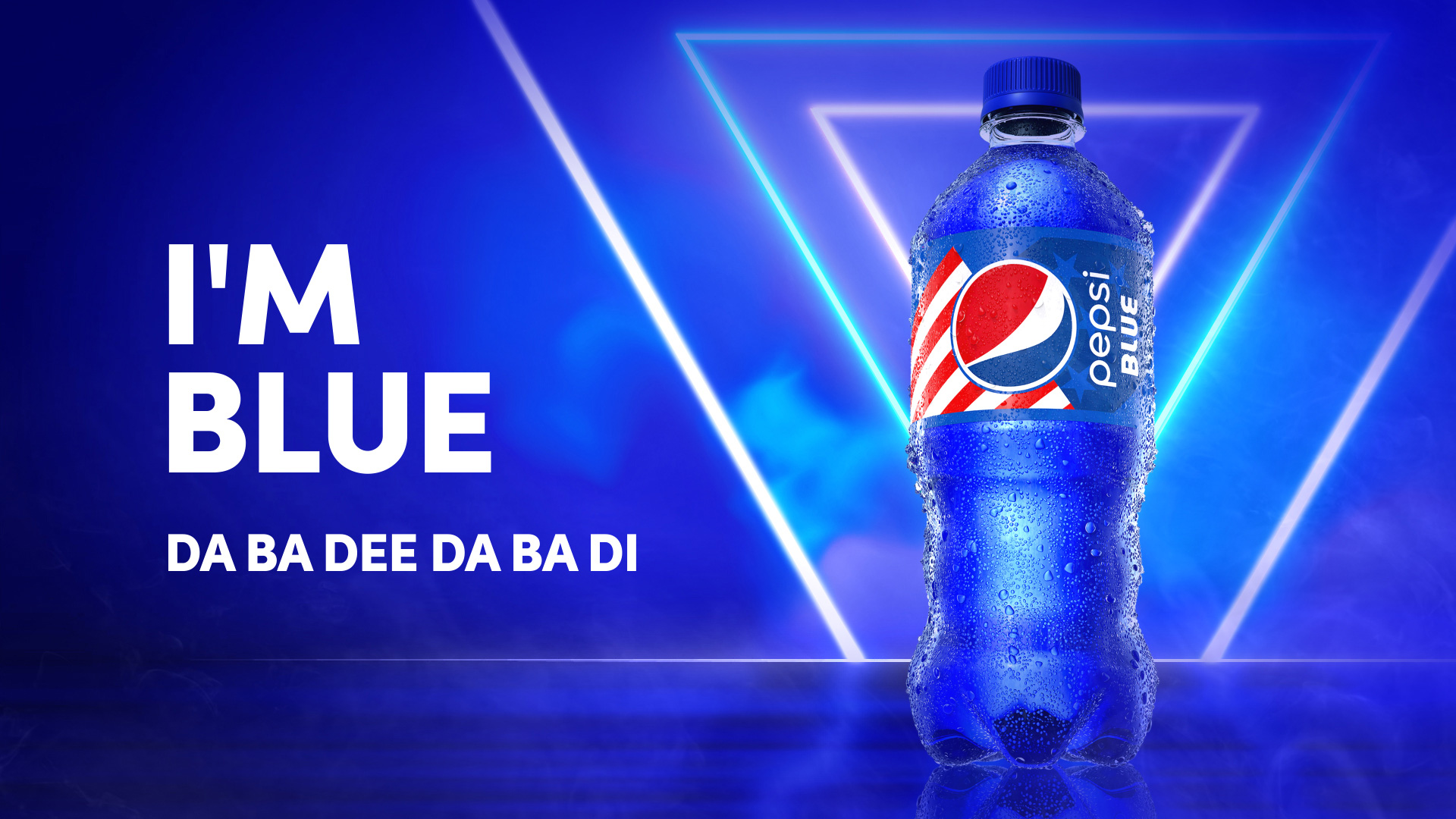 blue pepsi bottle with ad saying