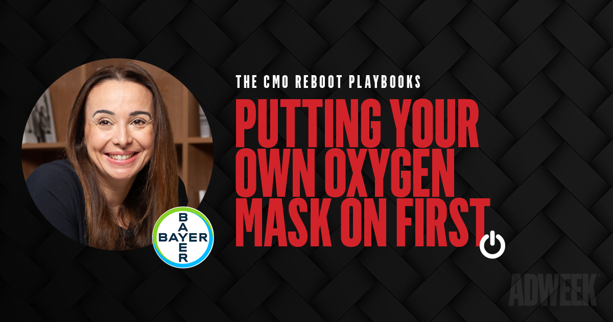 Patricia Corsi headshot next to text: CMO Reboot Playbook Putting Your Own Oxygen Mask on First