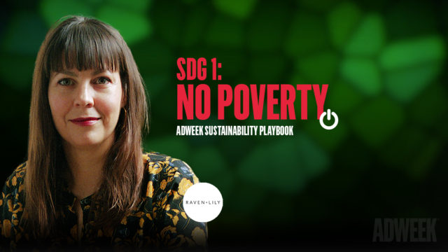 Kinda Lincoln Headshot accompanied by text that reads: SDG 1 NO POVERTY. Adweek Sustainability Playbook.