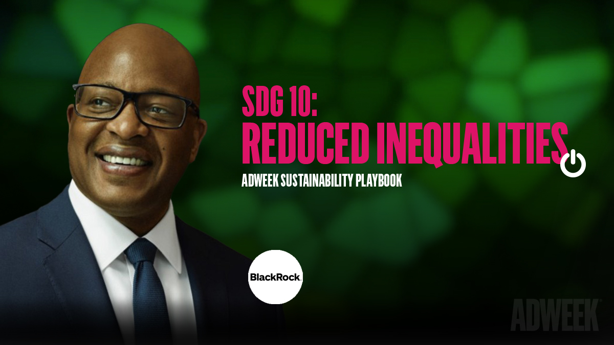 Frank Cooper headshot accompanied by text: SDG 10 Reduced Inequalities. Adweek Sustainability Playbook.